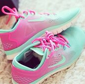 pink sneakers,turquoise,nike,nike shoes,sportswear,sports shoes,low top sneakers,shoes,pink,fade,colorful,color/pattern,nike free run 5.0,pink and blue shoes,nike running shoes,ombre,nike free run,pink and turquoise,mint with pink,hair accessory,blue,mint,cute,pretty,sneakers,running,just do it,pink and blue nike,faded green,faded pink,green,mint green shoes