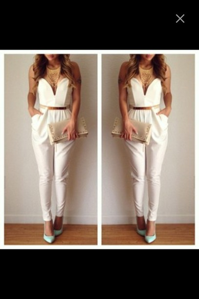Images of White And Gold Jumpsuit - Reikian