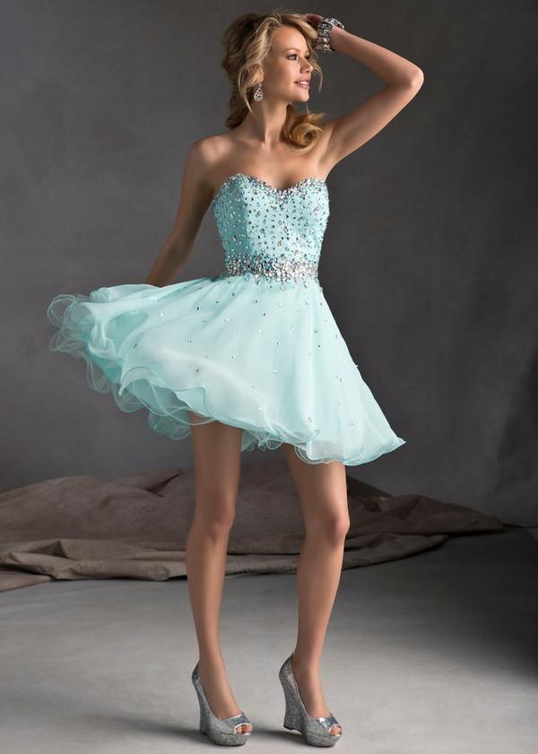 dress mint short homecoming dress