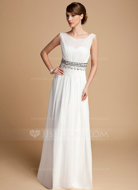 dress a-line/princess scoop neck floor-length chiffon prom dress with ruffle beading