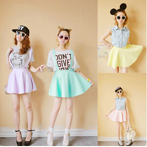 cute fashion women skirts kawaii pastel suspender skirt S M L ... 14dfe8022