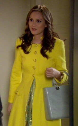 yellow coat leighton meester blair waldorf gossip girl yellow