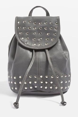 mini studded backpack mini backpack leather grey bag