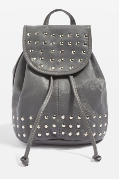 Topshop mini studded backpack mini backpack leather grey bag