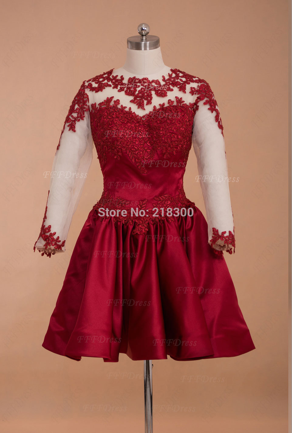 Aliexpress.com : Buy Backless Long Sleeves Burgundy Lace Short Prom Dresses Kardashian Dress for Prom Cheap Home Coming Dress from Reliable dress long sleeve tunic dress suppliers on MyPromDresses | Alibaba Group