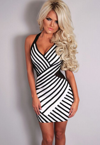dress halterneck chic wots-hot-right-now mini dress black and white stripes midi dress party dress plunge v neck lingerie evening dress cocktail dress special occasion dress sexy dress black and white dress celebrity style celebstyle for less