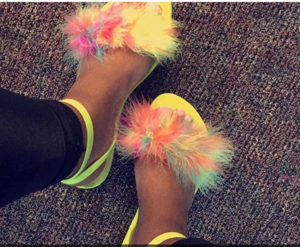 Shoes Neon Sandals Colorful Fur Yellow Flats Fluffy