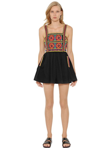 dress embroidered beaded cotton black