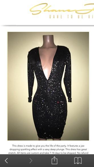 dress deep v dress glitter dress long sleeve dress black short dress black homecoming dress cocktail dress party dress