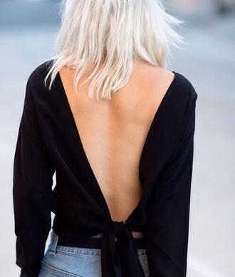 black blouse backless shirt cool