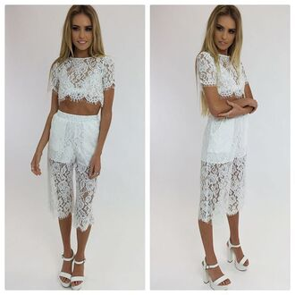 top set matching set matching white set lace white lace lace set crop and pants set white lace crop lace crop lace pants peppermayo