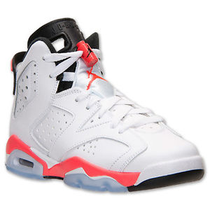 2014 Nike Air Jordan Retro VI 6 BG GS Youth White Infrared Black OG 384665-123