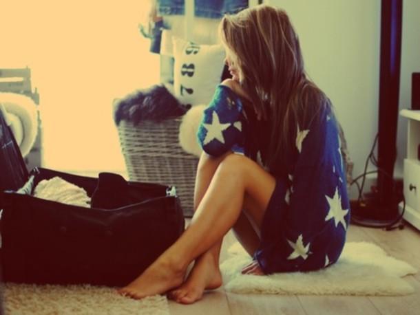 sweater stars white stars blue skirt navy cozy