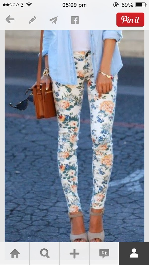 jeans floral fashion pants pants tight bottoms