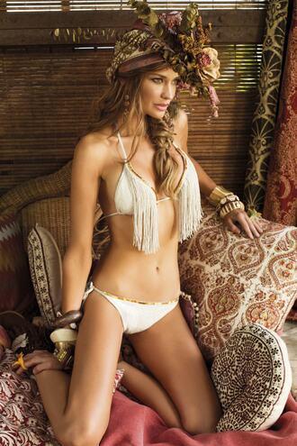 swimwear bikini cheeky fringes paradizia triangle fringe bikini bikiniluxe