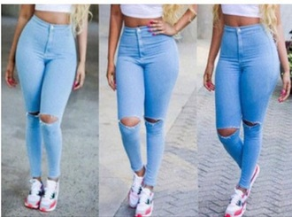 jeans denim high waisted jeans high waisted blue blue jeans urban streetwear streetstyle ripped jeans ripped