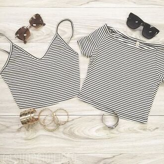 tank top stripes black and white crop tops off the shoulder crop top skirt shirt