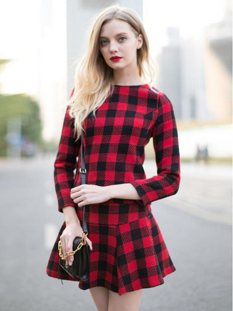 Red Plaid Blouse And Skate Skirt | Choies