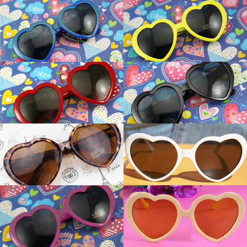 4ebdcf3a6296 Unisex Men Women Heart Shape Retro Plastic Frame Sunglasses ...