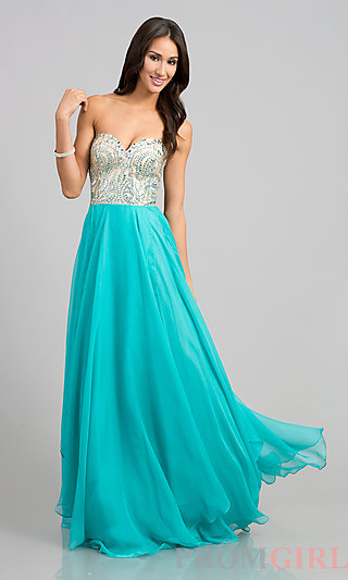 Beaded Strapless Prom Gown, Nina Canacci Strapless Gowns-PromGirl