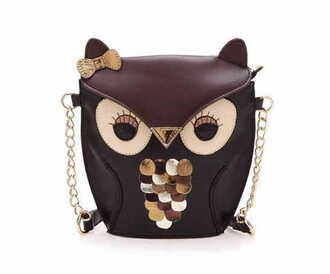 bag gold chain handbag owl owls handbag messenger bag leather brown leather bag leather bag cute girly chain gold chain