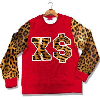 sweater red cheetah print xs cute top dope shirt dope swag top swag wishlist