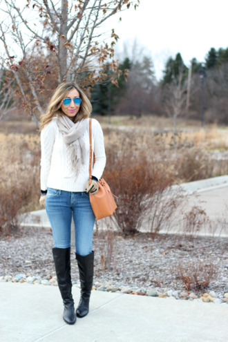 lilly's style blogger jeans bag scarf gloves sunglasses cable knit knee high boots jacket sweater shoes