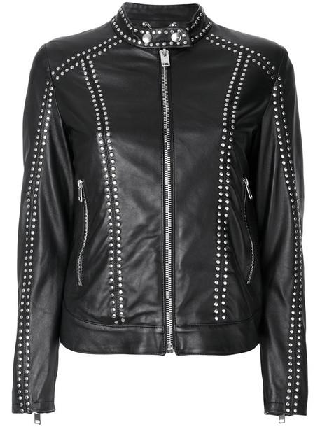 Diesel jacket leather jacket studded leather jacket studded women leather cotton black