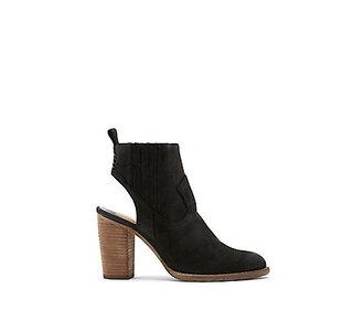 shoes heels booties stacked wood heel