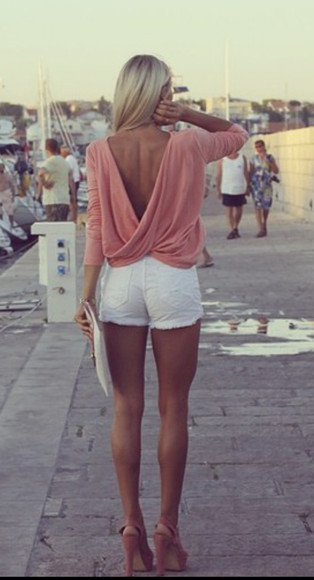 blouse open back white long sleeve girly pink fashion shorts summer outfits clutch shoes outfit jeans jean shorts high heels