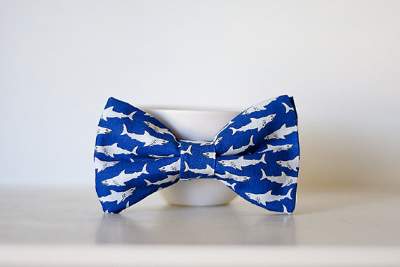 Cobalt Blue Shark Bow Tie Child Size Clip On by butteredtoast