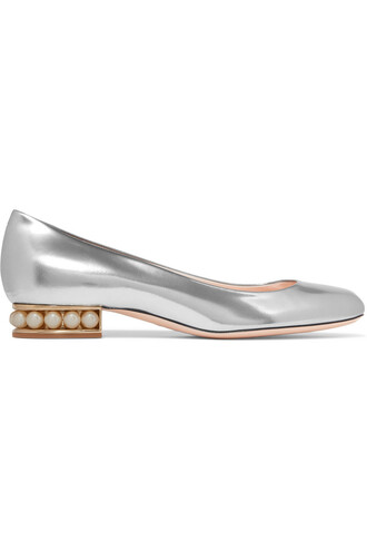 metallic ballet embellished flats ballet flats leather silver shoes