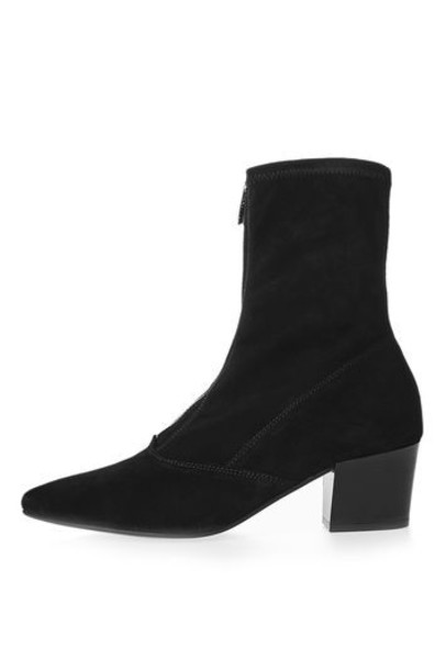 Topshop zip black shoes