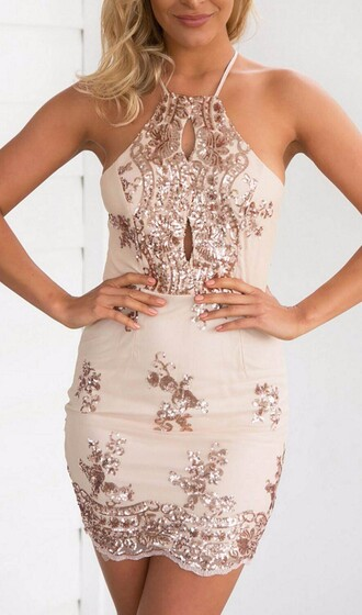 dress homecoming dress homecoming short homecoming dress sequined midi dress halter dress gold dress nude