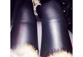 leggings black details pants knie leather leather leggings leather pants