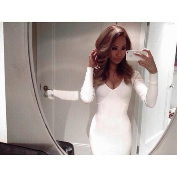 white dress bodycon dress long sleeve dress tight dress