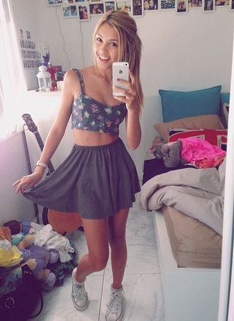 tank top crop tops floral grey blue bustier skirt high waisted skirt high waisted cute pretty sarah ellen floral bustier skater skirt flowy sarah ellen tumblr sarahellen