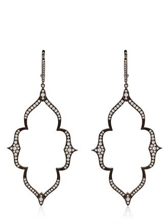 moon earrings white black jewels
