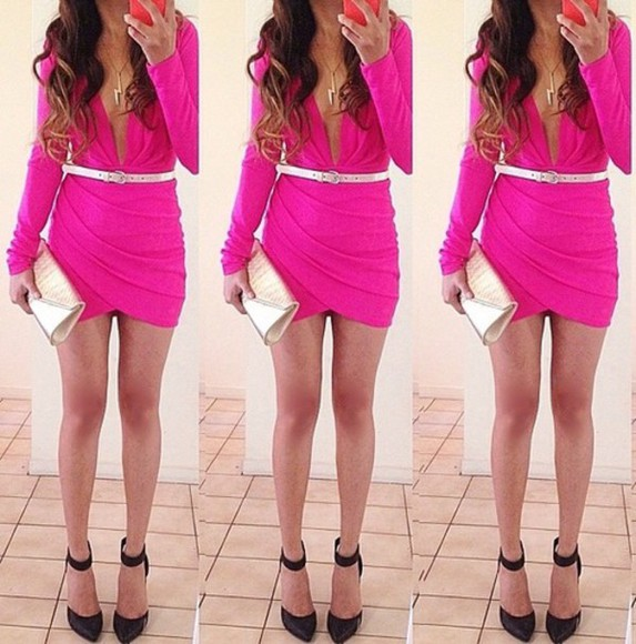dress pink dress hot pink tight dress bright pink