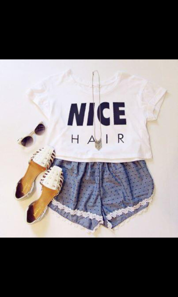 t-shirt nice nicehair top tank top white black sunglasses shorts blue shoes