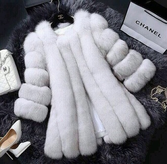 coat faux fur white coat faux