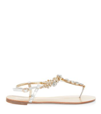 Silver Jewelled T-Bar Sandals