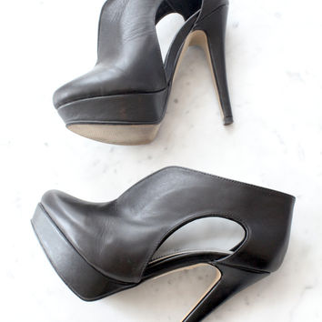 Black Cut Out Platform Heels on Wanelo