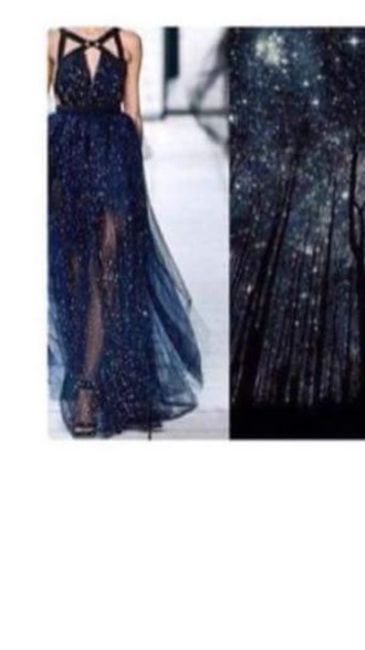 dress prom dress prom gown blue dress night sky prom dress 2015 beautiful dress