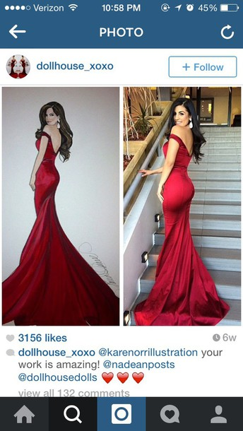dress red dress red prom dress prom dress long dress mermaid prom dress