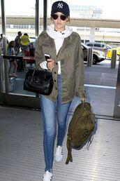 jeans,gigi hadid,denim,shoes,jacket,bag,sweater,phone,sunglasses,hat