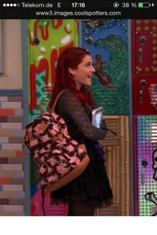 bag,cat valentine,ariana grande,backpack,flowers,back to school,girly