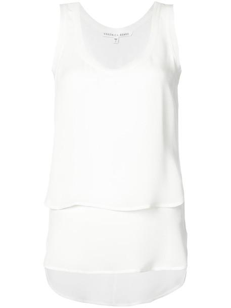 Veronica Beard - raw edge layered top - women - Silk - 4, White, Silk