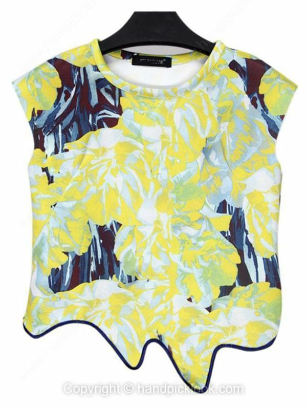 top yellow top yellow t-shirt print tank top print top floral print blouse printed crop top asymmetrical top