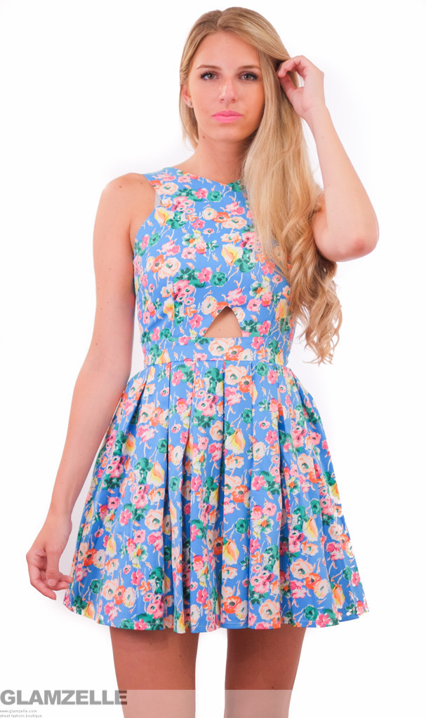 "Chic ""floral majesty"" print cutout babydoll skater dress – glamzelle"